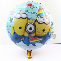 Wholesale Despicable 18 - Wholesale-hot 1pcs Despicable Me Minions Foil Balloons Carton 18 Inch Round Mylar Helium Balloons for Birthday Gift