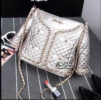 Wholesale Diamond Lattice Jacket - 2016 Amliya new diamond lattice chain clothes model bag single shoulder female leather jacket type Handbags Personalized bag