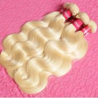 güzellik kraliçeleri saç uzantıları toptan satış-Bal Sarışın Brezilyalı Saç Örgü Demetleri 3 Parça Ucuz Brezilyalı Vücut Dalga # 613 Renk İnsan Saç Uzantıları Kraliçe Güzellik Ltd