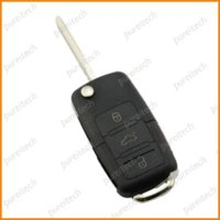 Livraison gratuite vw 3 + panic boutons voiture flip remote key fob case for polo bora golf cr2032 button cell battery