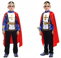Wholesale Teenage Suits For Boys - M~XL!! New Honorable Prince King Cosplay Hallowean Party Children Costumes for Kids Cute Boy Blue Suits