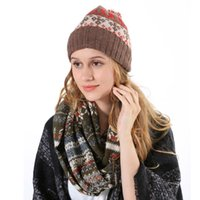 Wholesale Womens Fur Wool Hat - Wholesale-2015 Christmas Style Men Hats Neck Scarves Knitted Wool Snowflake Ring Scarves Hats with Fur Ball Womens Hat and Scarf Set