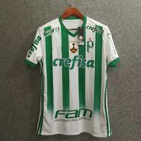 Wholesale Football Shirt Logos - Perfect 17 18 EC palmeiras away soccer jerseys full sponsor fans embroidery logo top made in brasil AAA football shirts custom dudu 7