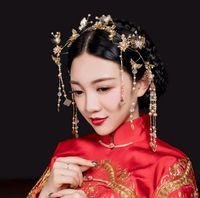 Wholesale Gold Coronet - The new Chinese bride headdress costume tassel Coronet wedding show jewelry jewelry bride hair Coronet wo