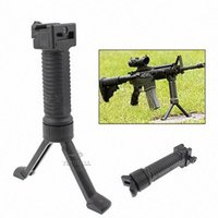 Wholesale Wholesale Bipod - Grip Bipod Tactical Vertical Front Grip Fore-Grip with Retractable Spring Loaded Bipod Stand for 25.4mm Rifle Machine Gun 2pcs