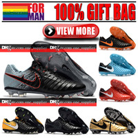 Solide Terrain Solide New Original Mens Tiempo Légende VII FG Football Chaussures Noir Blanc Or Rouge Faible Football Bottes Tiempo Roma X FG Football Crampons