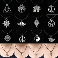 Wholesale Tibetan Silver Charms Prices - 2015 Hot 12 Style New Tibetan Silver Pendant Necklace Choker Charm Black Leather Cord Factory Price Handmade Jewlery