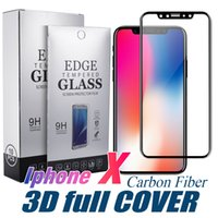Wholesale Film Covers - For Iphone X 8 Tempered Glass 3D Full Cover Screen Protector Carbon Fiber Design 9H 0.33mm Soft Edge Protective Film With Without Retail Box