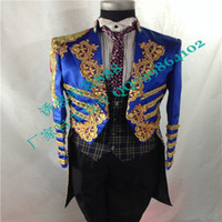 Wholesale Hot Sales Acting Long only Jacket Customize Ceremony RoyalBlue Men Suit Set Host Embroidery wedding suits groom