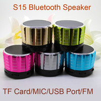 Wholesale mini speakers for tablet pc resale online - Mini S15 Speakers Bluetooth Wireless Built in MIC TF Slot Subwoofer Music Players For PC Tablet DHL Free MIS074