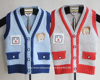 Wholesale Iso Kids Clothing - Wholesale-2015 Lovely Bear Popular Children's Knitted Vest Sweater Kids Clothes Kids Sweater  Free Shipping {iso-12-10-11-A4}