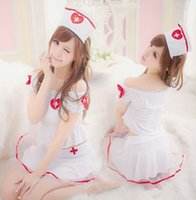 Wholesale Uniform Dress Wholesale - Wholesale-3 in 1Sexy Costumes Nurse lingerie cosplay Dress with hair band bracelet and G string Combo Uniform drop shipping