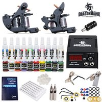 Wholesale Usa Tattoo Power Supplies - Tattoo Kit 2 Machines gun 20 color Inks Power supply needles Equipment