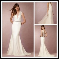 Wholesale China Gowns Online - Vestido de Novia Sexy Lace Wedding Dresses Mermaid Cap Sleeve Detachable Skirt Sweep Train China Wedding Gowns From BHLDN Custom Made Online