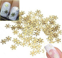 Wholesale Golden Metal Nail Art - Wholesale-Nail Rhinestones 1000Pcs Golden 3D Metal Sticker Decal Manicure Tool Nail Art Phone Decoration Free Shipping