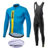 Wholesale Thermals Suits - Mavic Cycling Jerseys Cycling Set Winter Thermal Fleece Long Sleeves Racing MTB Suit Maillot Bike Clothing Ropa Ciclismo S15
