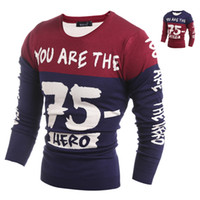 Wholesale Asian Dress Xl - Wholesale-Fashion pullover brand polo men sweater winter dress thick Letter Pullover O-neck Casual Patchwork Knitwear Men Asian sizeH9007
