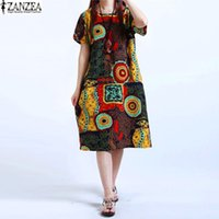 Wholesale Baggy Summer Dresses - Wholesale- M-5XL ZANZEA NEW Womens O Neck Floral Print Short Sleeve Cotton Linen Casual Knee Length Dress Baggy Boho Tunic Kaftan Plus Size