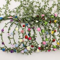 Wholesale garlands high quality resale online - Tassel Shaped Flower Headband High Quality Bohemian Floral Crown Wedding Garland Forehead Hair Head Band Beach Wreath Color