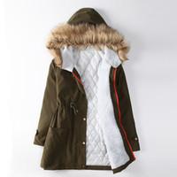 Wholesale Womens Fur Lined Winter Coats - 2016 Plus Size winter coat women Cotton Padded Lining Winter Coat Jacket Fur Collar womens winter jackets and coats free shipping
