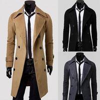 çift göğüslü trençkot ceket erkek kış toptan satış-Yeni Marka Kış erkek uzun bezelye ceket erkek yün Ceket kısın Yaka Kruvaze erkekler trençkot