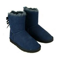 sapatos de couro nubuck venda por atacado-New Fashion Austrália clássico inverno botas de couro real Bowknot botas de neve das mulheres sapatos