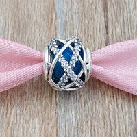 kraliyet takılar toptan satış-Otantik 925 Gümüş Boncuklar Kraliyet Mavi Galaxy Charms Avrupa Pandora Stil Takı Bilezikler Kolye Uyar 796361NCB
