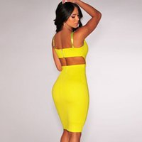 2015 Polyester Gelb / Weiß backless Bodycon Midi Kleid 60434 Partyverein Datumskleid M L FG1511