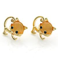 pernos prisioneros de oro gato al por mayor-Moda Animal Stud Pendientes Nueva Precioso Oro plateado Opal Cat Pendientes para Las Mujeres Joyería de Lujo