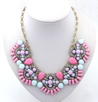 Wholesale Resin Flower Bib Necklace - Fashion 2014 Rhinestone Necklace Flower Acrylic Charming Jewelry Gift Statement Bib Collar Necklace For Woman Promotion S98151
