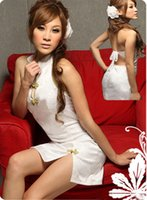 Wholesale White Sexy Lingerie Cheongsam - w1025 sexy lingerie white flower cheongsam lace halter women exotic dress+g string 2pcs set sleepwear