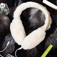 Wholesale Fur Headphones - 1PCS Plush Female Winter Earmuff Warm Ear Muffs Headphones Girls Earmuffs Music Earphones Faux Fur Headphones