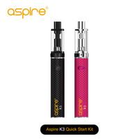 Wholesale vaporizer pen aspire for sale - Group buy 100 Authentic Aspire K3 Quick Starter Kit Bottom Vertical Coil ml Aspire Vape Pen Vaporizer mAh E Ciggarette Start Kit TPD