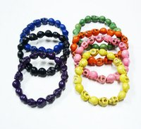 Wholesale Candy Skull Ring - Free Shipping Turquoise Skull Stretch Bracelet Skull Strand Multicolor Bracelet Candy Color Bracelets Free Shipping Valentine Day Gift