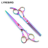 Wholesale dog grooming thinning shears - Hair scissors 7 INCH Cutting scissors 6.5 INCH Thinning shears LYREBIRD Rainbow Dog Grooming scissors NEW