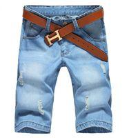 Wholesale Korean Men Trousers - Wholesale-2015 Fashion Brand Men Shorts Casual Denim Shorts Jeans Men Summer Light Colour Breeches Korean Trend Straight Trousers Men