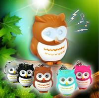 Wholesale Owl Flashlight - Promotion Best Gift DHL Fedex Free Shipping Lovely Animal 100pcs OWL LED Flashlight Keychain Keyring With Sound Toys Kids Gift KC190