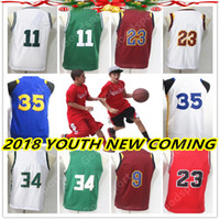 Wholesale Kid Basketballs - YOUTH 18 NEW VERSION Stitched jerseys Sport Jersey GIFT KID IRVING DURANT JAMES ANTETOKOUNMPO GEORGE WADE MICHAEL HOT