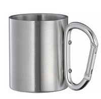 Wholesale Cheap Coffee Wholesale - 100pcs very cheap Stainless Steel Coffee Mug Camp Camping Cup Carabiner Hook Double Wal mug