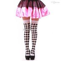 Wholesale Dimond Socks - Wholesale-The clown cosplay stockings multicolour socks dimond plaid check thin pantyhose stockings