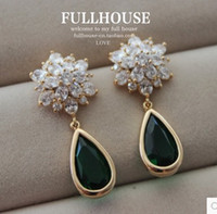 flor de diamantes set verde jade noiva do casamento waterdrop earings (10,5 milímetros * 38mm) (hb3308)