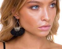 Wholesale Gray Fan - Fashion popular jewelry Bohemian style fan shape tassel earrings temperament retro style fine earrings