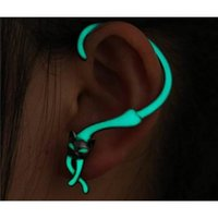 Wholesale Ear Cuff Bling Wholesale - 3PCS NEW Individuality Cat Shape Noctilucent Bling Ear Studs Earrings Accessories for Dance  Party