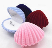 Wholesale velvet jewelry box - 100pcs New Arrival mix colors Jewelry Gift Boxs Sea Shell Shape Jewelry Box Earrings Necklace Boxes Color Pink
