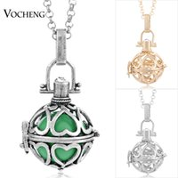 Wholesale Harmony Plates - VOCHENG Caller Harmony Maternity Jewelry 3 colors Copper Matal Pendants Angel ball Chain Necklaces with Stainless Steel Chain VA-020