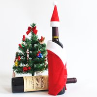 Wholesale Party Hats Suppliers - 10 Sets Wine Bottle Sets & Christmas Cap On Bottle Santa Gift Red New Year Decoration for Home Christmas Party Supplier Coat And Hat