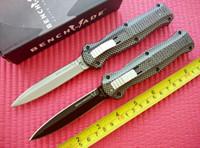 Wholesale Plain Carbon - 2016 Benchmade 3300 3300BK Infidel Knife Double Action Out the front Plain D2 steel Dagger Plain carbon fiber handle Tactical knife knives
