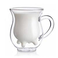 Wholesale Glass For Tea Coffee - New Fashion Innovative Cow Idea Hand-made Double Glazing 250ml Milk Glass Coffee Cup For Milk,Coffee,Juice and Tea.