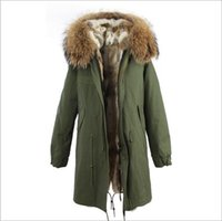senhoras parka verde venda por atacado-Senhoras casacos de neve Jazzevar marca brown gola de pele de guaxinim cinza branco forro de pele de coelho exército verde lona longa parka