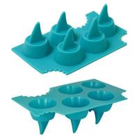 Wholesale Shark Shape Mold - Shark Ice Mold Shark Fin Shape Ice Cube Tray Silicone Ice Mold Maked 5 Fins a Time